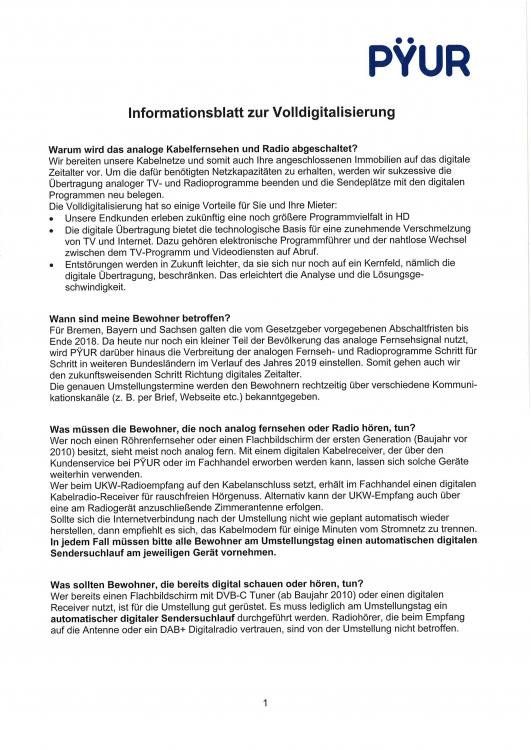 Information zur Volldigitalisierung